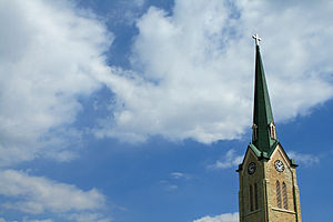 Church steeple with clouds