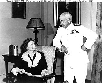 Aubrey Fitch - Vice Admiral Aubrey W. Fitch, USN, Superintendent of the U.S. Naval Academy; With Mrs. Gwyneth Fitch, in the Superintendent's House, Annapolis, Maryland, October 1945.