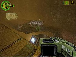 With Geo-Mod, the player can destroy this bridge, causing the APC to fall into the chasm below.