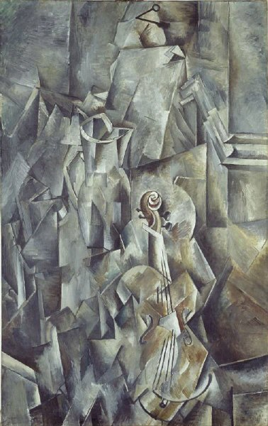 Georges Braque, 1909-10, Pitcher and Violin, oil on canvas, 116.8 x 73.2 cm, Kunstmuseum Basel