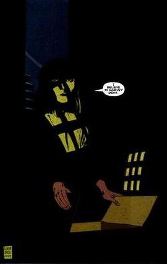 Gilda Dent - Gilda Dent destroying incriminating evidence against her husband Harvey Dent in Batman: The Long Halloween. Art by Tim Sale.