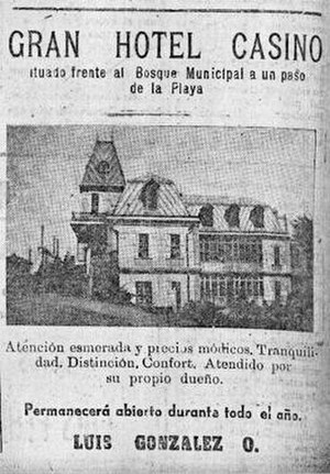 Agustín Ross Cultural Centre - Ad published in Pichilemu on 30 April 1944, promoting the Gran Hotel Casino, owned by Luis González Osorio.