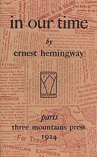 <i>In Our Time</i> (short story collection) 1925 Ernest Hemingway collection