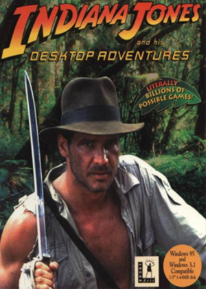 Indiana Jones and His Desktop Adventures - The boxart for Indiana Jones and His Desktop Adventures features a still of Indiana Jones from Indiana Jones and the Temple of Doom