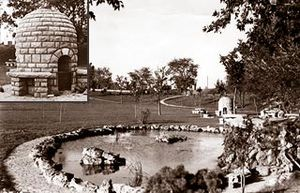 Minnesota State Highway 100 - A historic view of Lilac Park with a rock garden and an ornamental pool. The inset shows one of the beehive grills.