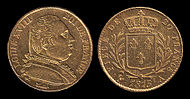 Gold 20-franc coin of Louis XVIII from 1815