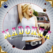 Madonna wearing a white top with her tongue out to the camera. The photo is within a circular frame on top of which artist and song name is written in bold capital font.