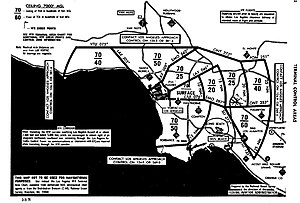Golden West Airlines Flight 261 - LAX Group I TCA Chart. The planes collided 17 miles east of the LAX radar antennae, at 2,200 feet MSL, just below the floor of the TCA