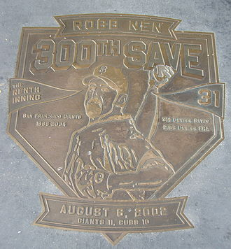 Robb Nen - Plaque commemorating Nen's 300th career save.