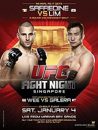 A poster or logo for UFC Fight Night: Saffiedine vs. Lim.