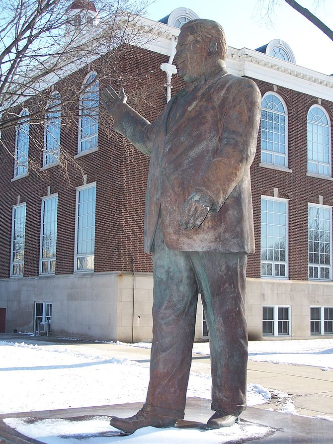Statue of Orville Hubbard at Dearborn City Hall