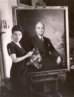 Greta Kempton - Image: Photo of Greta Kempton with her portrait of President Harry Truman