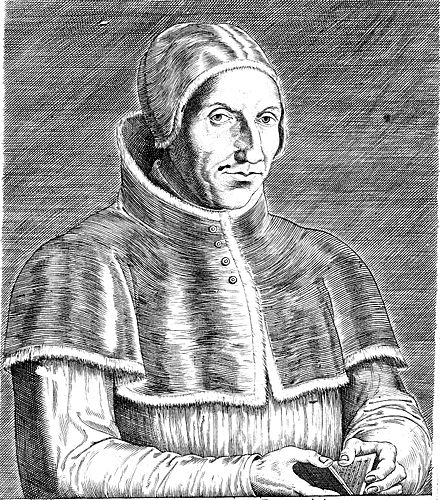 Pope Adrian VI, 1598 engraving by Théodore Galle. - Pope Adrian VI