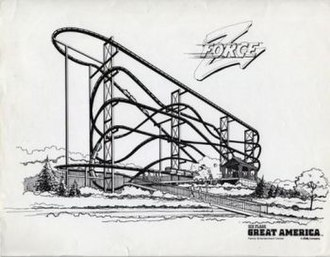 Flashback (Six Flags Magic Mountain) - An artist's renderation of Flashback when it was known as Z Force.