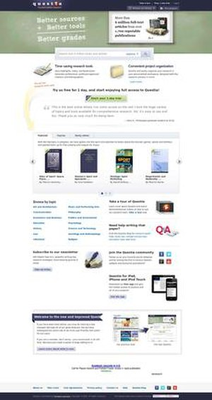 Questia Online Library - Image: Questia screenshot