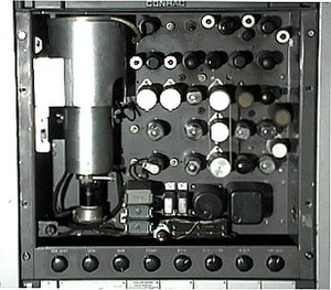 Indian-head test pattern - The RCA TK-1C monoscope camera which generated the test pattern.