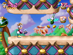 Rayman (video game) - An example of gameplay in Rayman. Rayman is in a level in Band Land, the second of the game's six lands.