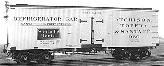 "Santa Fe Refrigerator Despatch - An ice-cooled reefer of the Santa Fe Refrigerator Despatch ""Bulk Fruit Express"" c. 1894. There is disagreement among historians as to the color of these cars: white, ivory, light gray, or canary yellow."