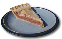 Slice of Rhubarb pie. Shadow created using Pho...