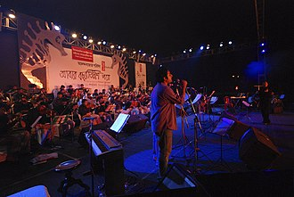 Abar Bochhor Tirish Pore - The concert stage with all the musicians, Sayak and Abraham