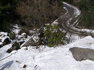 Snow Capped Road to Daman, Nepal