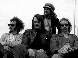 Group photo circa 1970:Elton Dean, Mike Ratledge, Robert Wyatt, Hugh Hopper