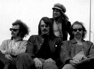 Soft Machine - Group photo circa 1970: l-r: Elton Dean, Mike Ratledge, Robert Wyatt, Hugh Hopper
