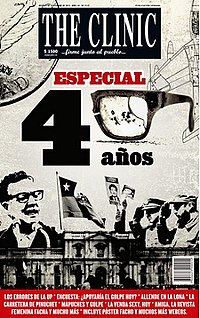 Front page of The Clinic's special edition commemorating the fortieth anniversary of the 1973 Chilean coup d'état, published on 5 September 2013.