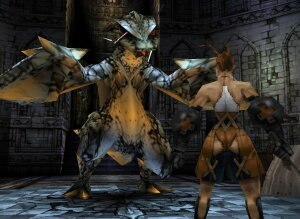 Vagrant Story - Ashley Riot faces a wyvern during the opening sequence. The game directly switches between event cutscenes and gameplay using the same character models.
