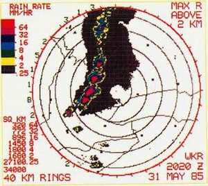 1985 United States–Canada tornado outbreak - King City Doppler at 4:20pm; two major tornadoes are on the ground here