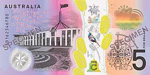 Australian five-dollar note - Image: 2016 Australian five dollar note reverse