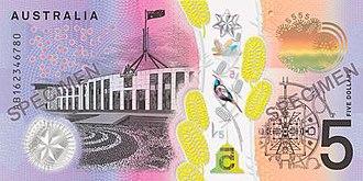 Australian five-dollar note - Image: 2016 Australian five dollar note reverse