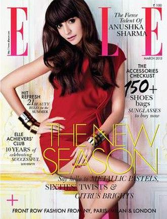 Elle (India) - Anushka Sharma on the March 2013 cover of Elle