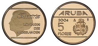 Aruban florin - 2004 5 florin coin. Its size is slightly smaller than the 1 florin coin.