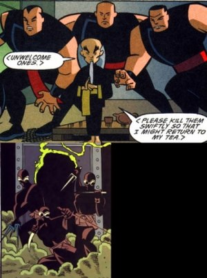League of Assassins - The Leagues of Assassins (top) and Shadows (bottom) as they appear in the Animated Continuity. Art by Rick Burchett.