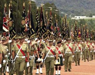 Uniforms of the Australian Army - Soldiers on parade for the centenary of the Australian Army, 10 March 2001.