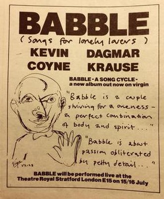 Kevin Coyne - Advertisement for the theatre presentation of Babble, from Melody Maker, July 1979