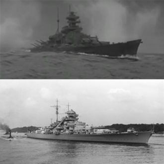 Sink the Bismarck! - A comparison of the real Bismarck (bottom) in 1940 and that from the film (top) during the scene in which it engages HMS Prince of Wales.