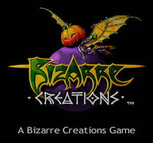Bizarre Creations - A screen-shot taken from Metropolis Street Racer on the Dreamcast showing the Bizarre Creations logo used during the year 2000–2001.