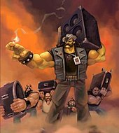 Painted artwork, featuring a very muscular man in a jeans-vest, t-shirt, and pants, with dark glasses and cowboy hat, holding a speaker on his shoulder; three other figures in the background, dressed similarly, are also carrying speakers.