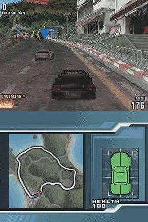 Burnout Legends - An in-game screenshot of Burnout Legends on the Nintendo DS.