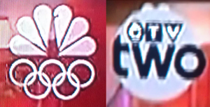 Simultaneous substitution - A partially transparent NBC logo is seen on the left. An opaque, grey CTV Two bug partially covering the NBC logo is seen on the right.