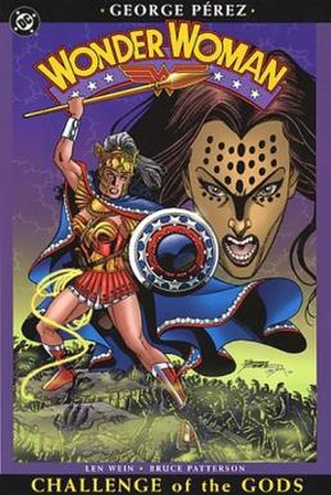 Challenge of the Gods - Cover to trade paperback of Challenge of the Gods. Art by George Pérez.