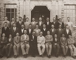Concordia University Texas - Old photograph of Concordia faculty in front of Kilian Hall