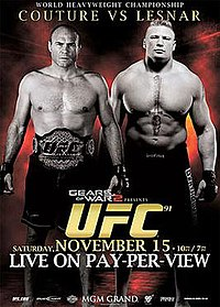 A poster or logo for UFC 91: Couture vs. Lesnar.