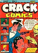 Comic-book cover, with masked man pointing a gun at a villain