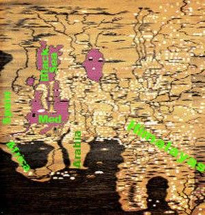 Da Ming Hunyi Tu - Detail, stretched sideways, with seas coloured