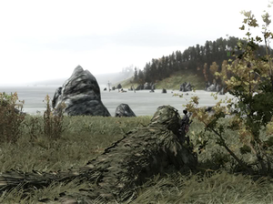 DayZ (mod) - A player character wearing a ghillie suit lies in the prone position while pointing his M14 DMR across the water. The reticle in the HUD may be seen superimposed next to the bush which is to the right of the player