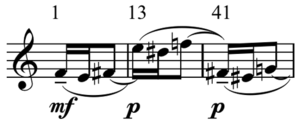 Density 21.5 - Three complete motif occurrences, measures marked above (Perle, 1990)