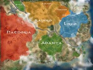 Encantadia - Encantadia map labeled per Kingdom and territories.
